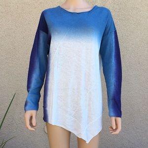 Ombré Linen Asymmetric Hem Tunic Sweater